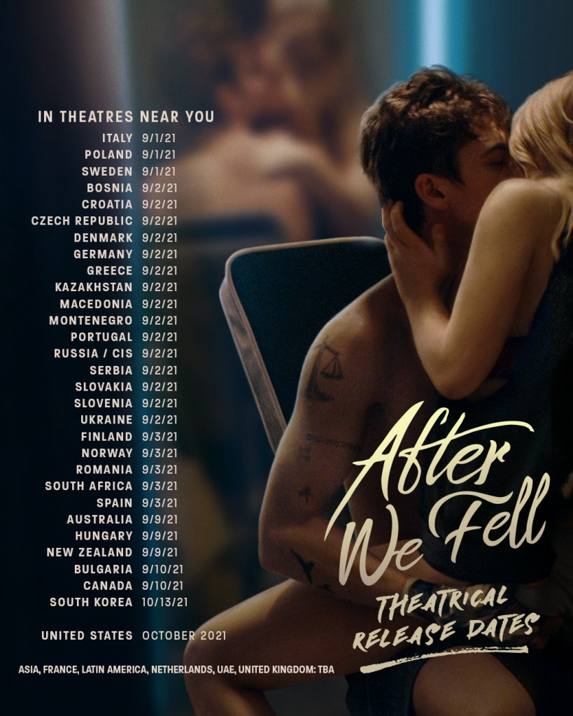 "Text of ""After We Fell"" theatrical release dates for different countries on top of a promotional still for the film"